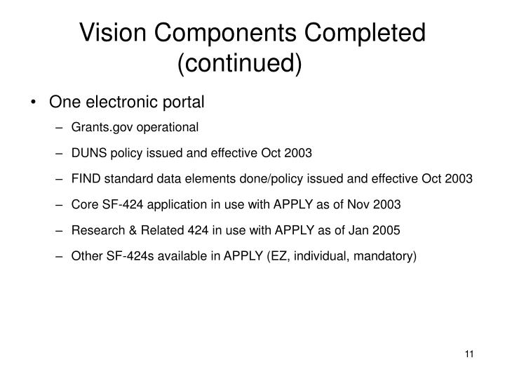 Vision Components Completed (continued)