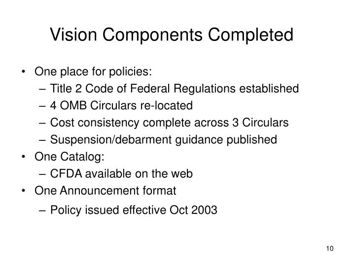 Vision Components Completed