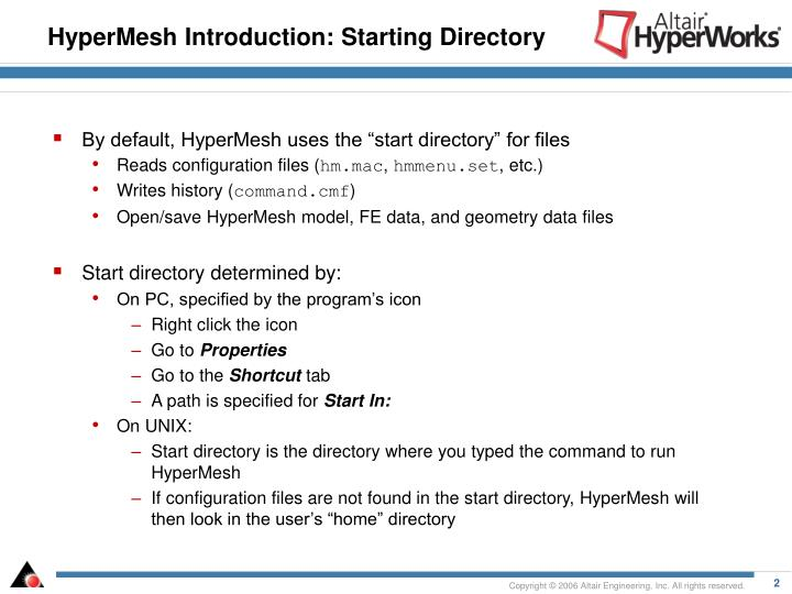 HyperMesh Introduction: Starting Directory