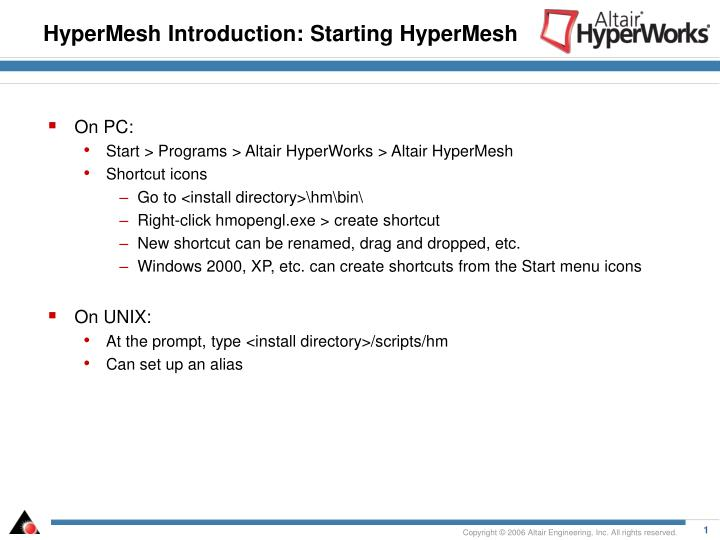 Hypermesh introduction starting hypermesh