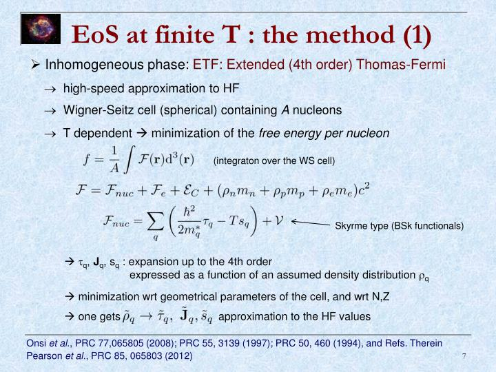 EoS at finite T : the method (1)