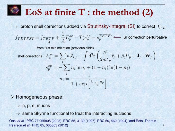 EoS at finite T : the method (2)