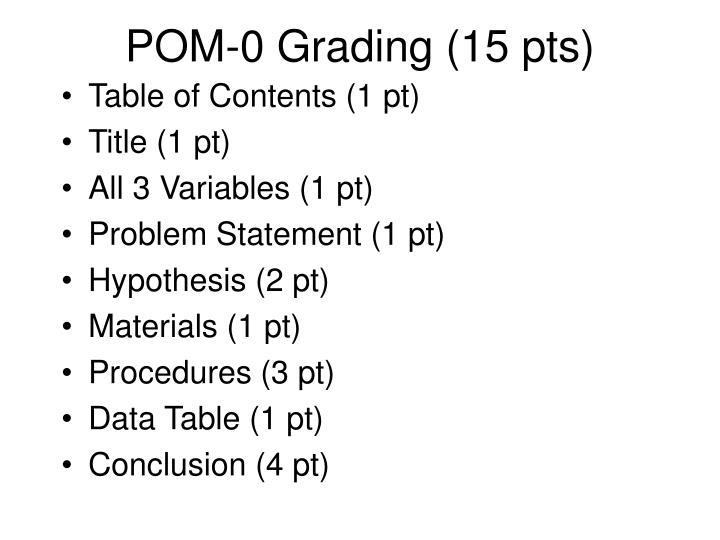 POM-0 Grading (15 pts)