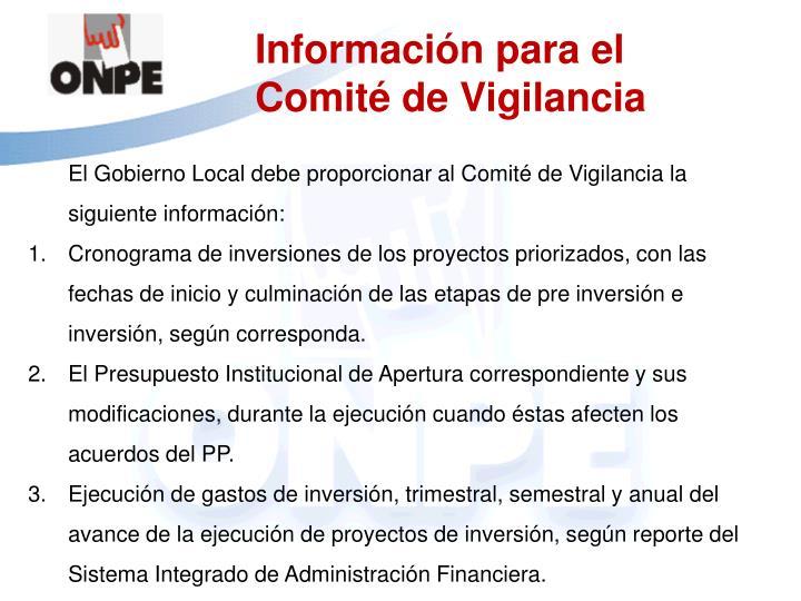 Información para el Comité de Vigilancia