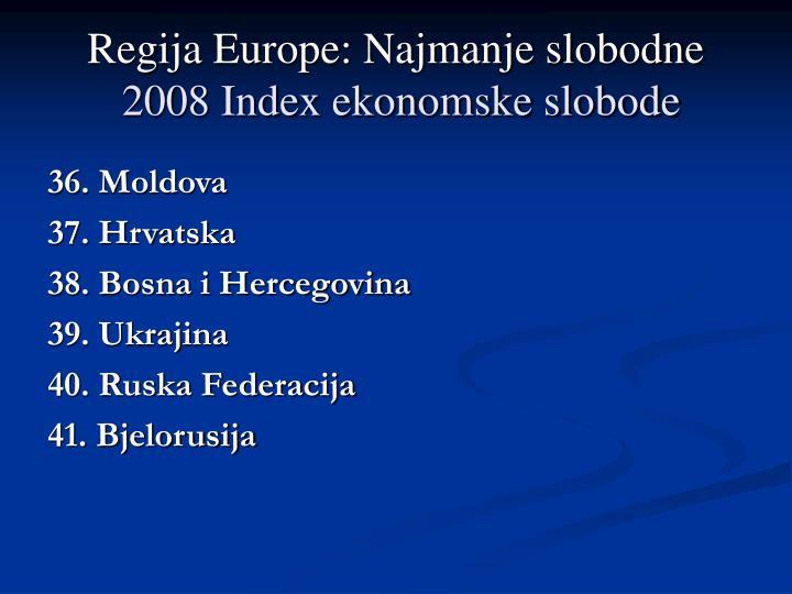Regija Europe: Najmanje slobodne