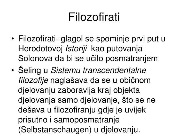 Filozofirati