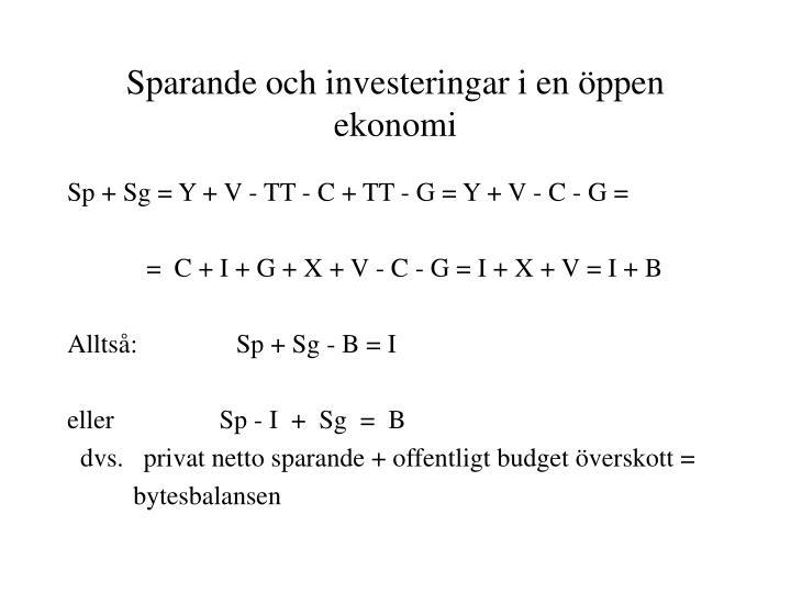 Sparande och investeringar i en öppen ekonomi