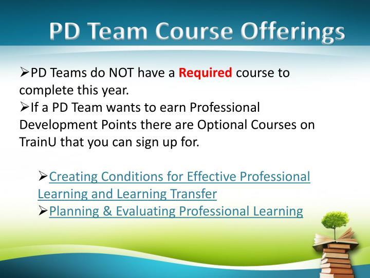 PD Team Course Offerings