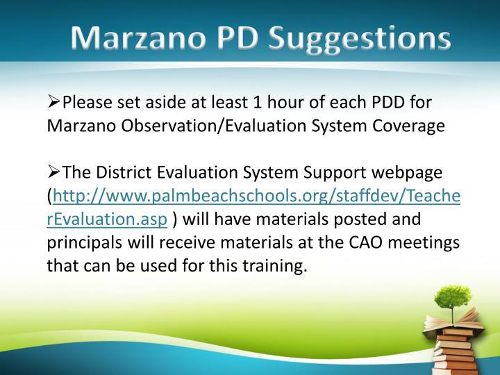 Marzano PD Suggestions