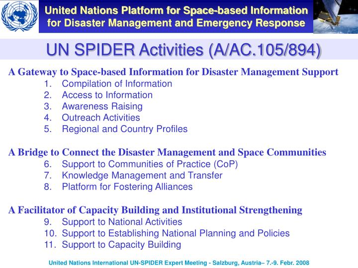 UN SPIDER Activities (A/AC.105/894)
