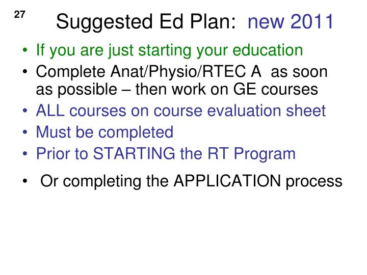 Suggested Ed Plan: