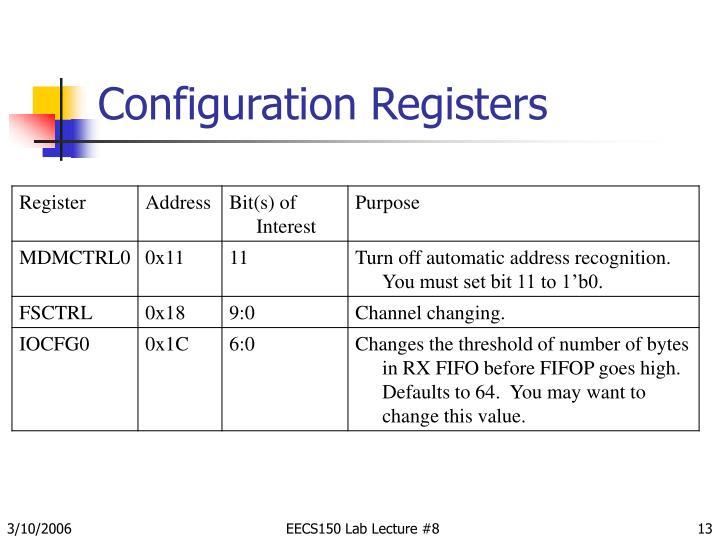 Configuration Registers