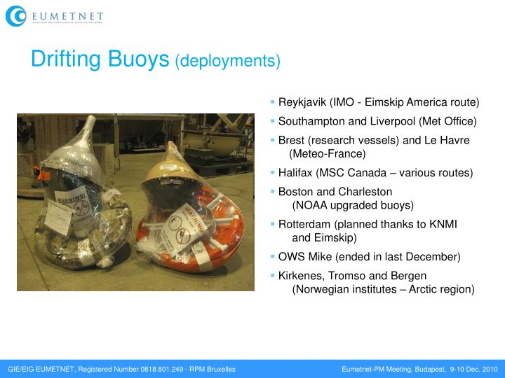 Drifting buoys deployments