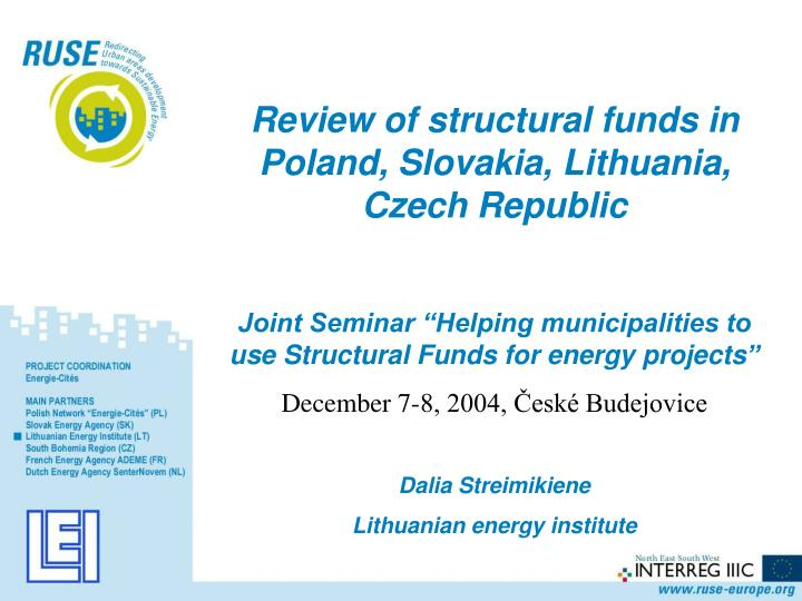 Review of structural funds in Poland, Slovakia, Lithuania, Czech Republic