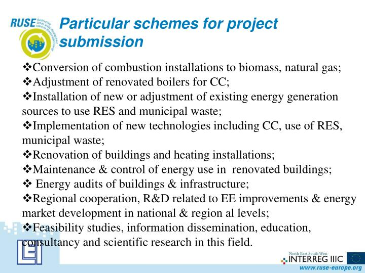 Particular schemes for project submission