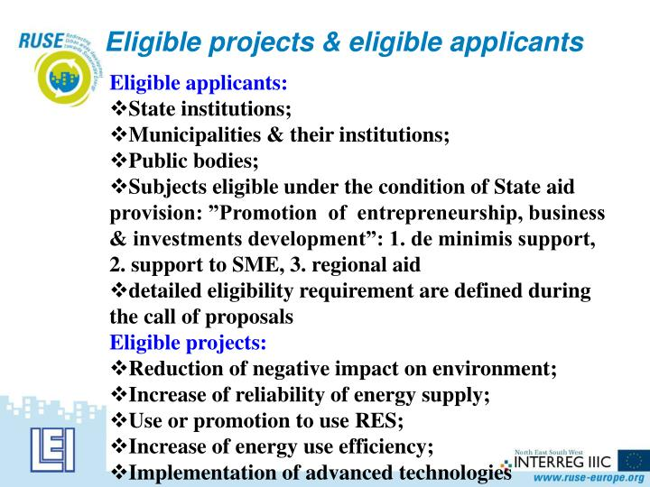Eligible projects & eligible applicants