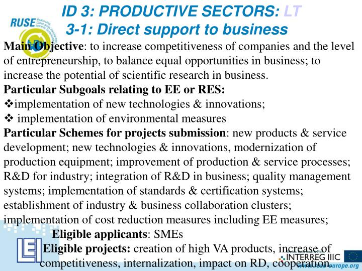 ID 3: PRODUCTIVE SECTORS: