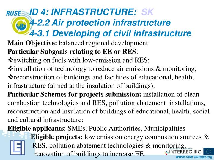ID 4: INFRASTRUCTURE: