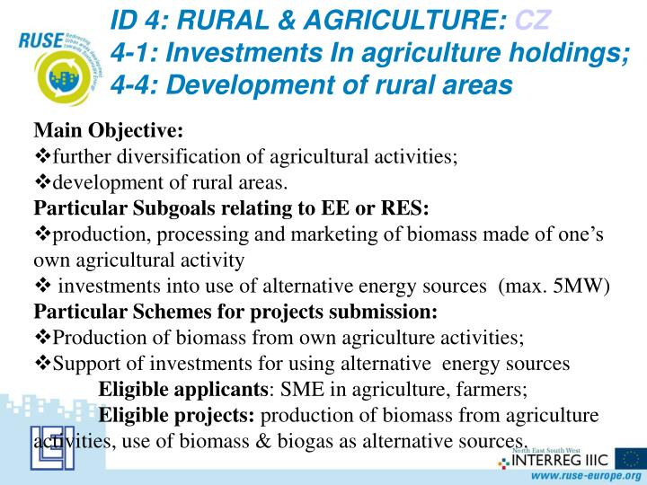 ID 4: RURAL & AGRICULTURE:
