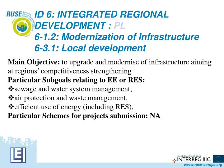 ID 6: INTEGRATED REGIONAL DEVELOPMENT :