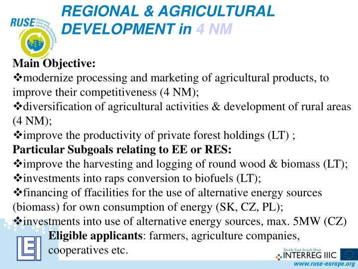 REGIONAL & AGRICULTURAL DEVELOPMENT in