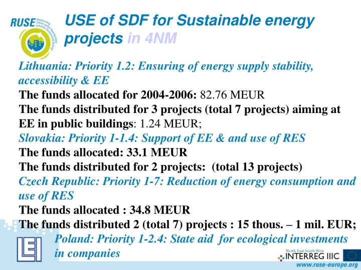 USE of SDF for Sustainable energy projects