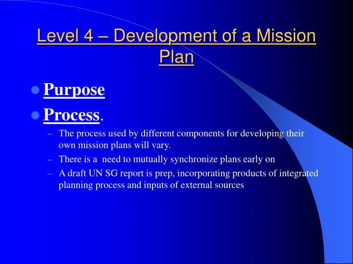 Level 4 – Development of a Mission Plan
