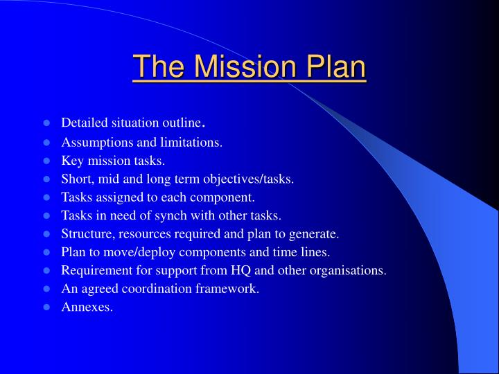 The Mission Plan