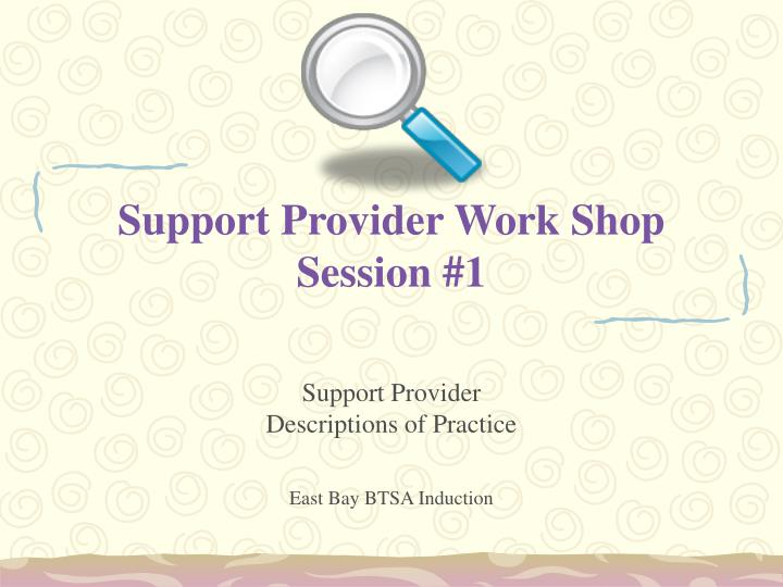 Support Provider Work Shop