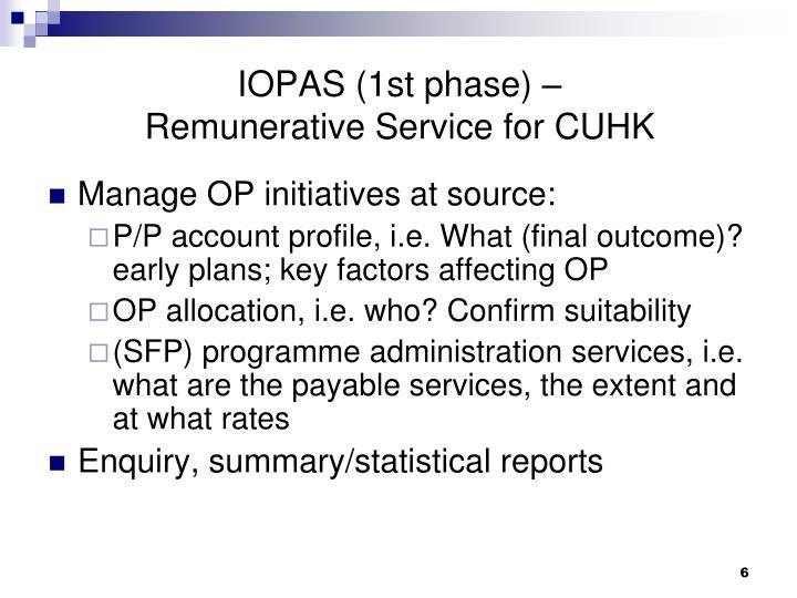IOPAS (1st phase) –