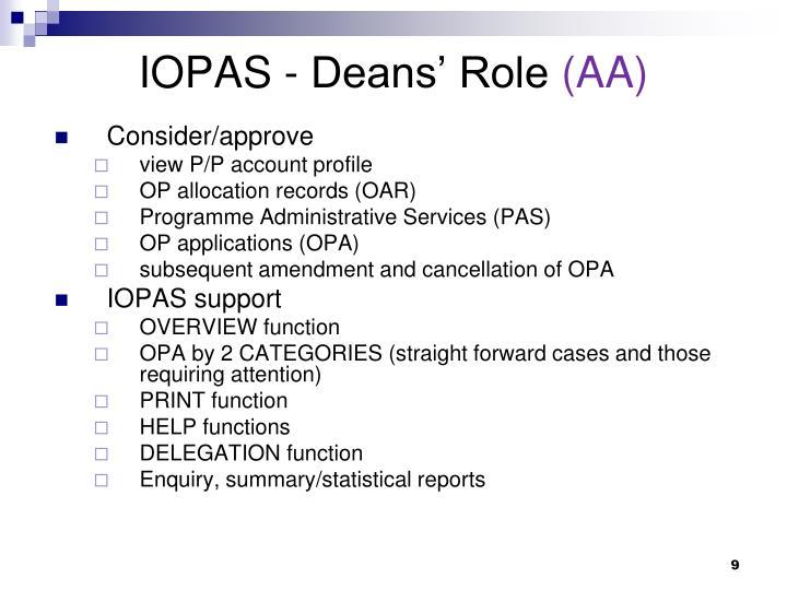 IOPAS - Deans' Role