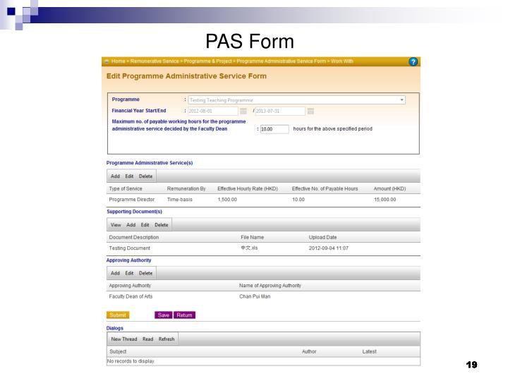 PAS Form