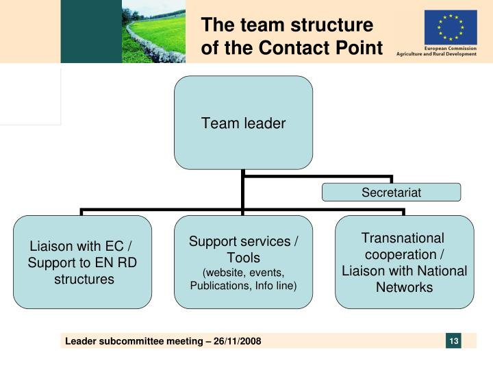 The team structure of the Contact Point