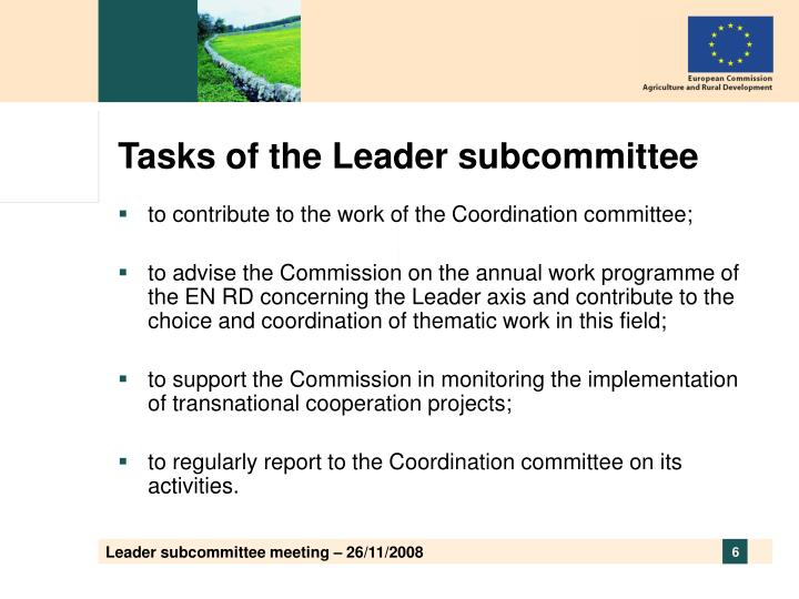 Tasks of the Leader subcommittee