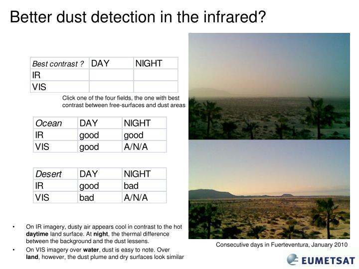 Better dust detection in the infrared?