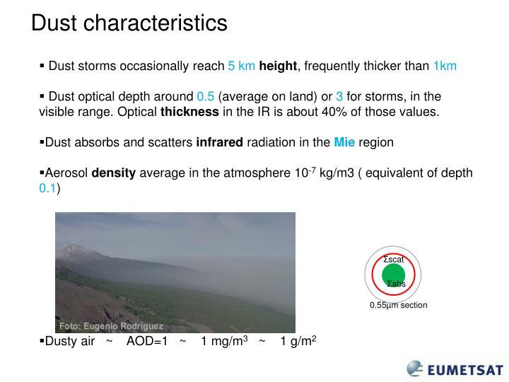 Dust characteristics
