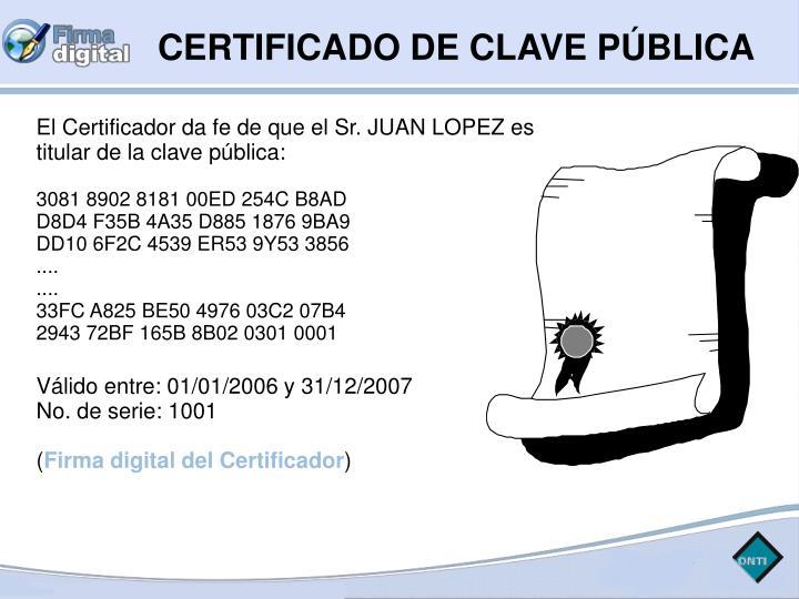 CERTIFICADO DE CLAVE PÚBLICA