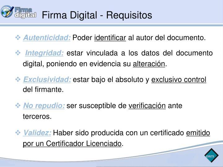 Firma Digital - Requisitos
