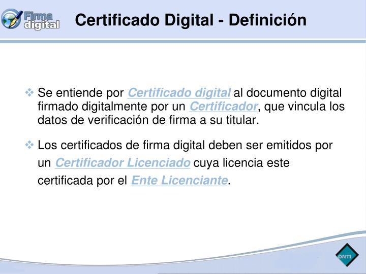 Certificado Digital - Definición