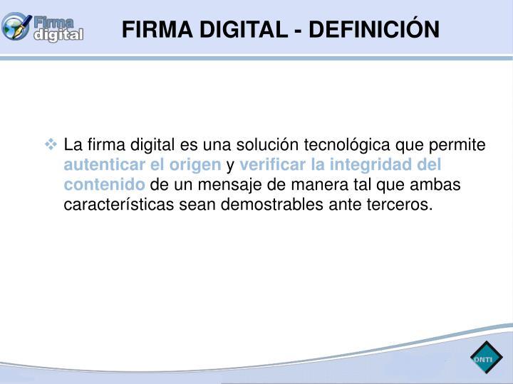 FIRMA DIGITAL - DEFINICIÓN