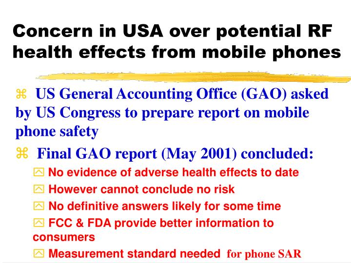 Concern in USA over potential RF health effects from mobile phones
