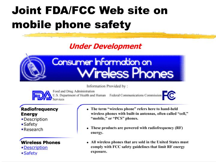 Joint FDA/FCC Web site on mobile phone safety