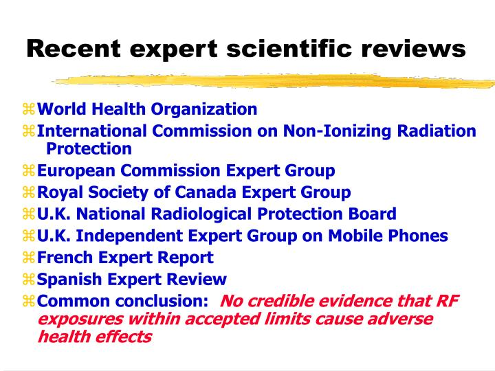 Recent expert scientific reviews
