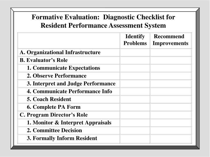Formative Evaluation:  Diagnostic Checklist for