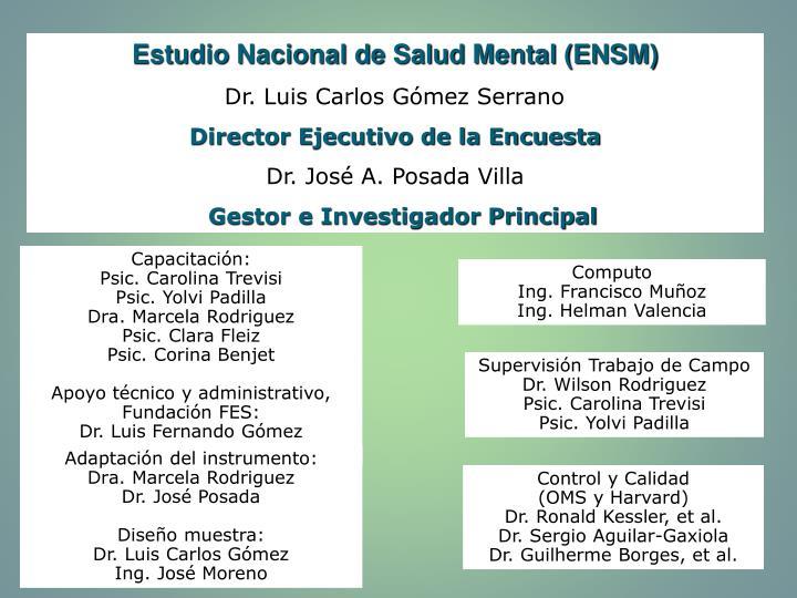 Estudio Nacional de Salud Mental (ENSM)