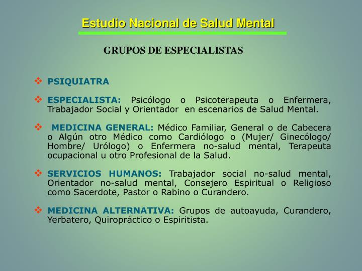 Estudio Nacional de Salud Mental