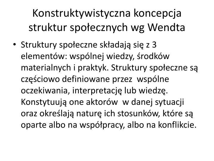 Konstruktywistyczna koncepcja struktur spoecznych wg Wendta
