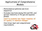 applications of comprehensive models