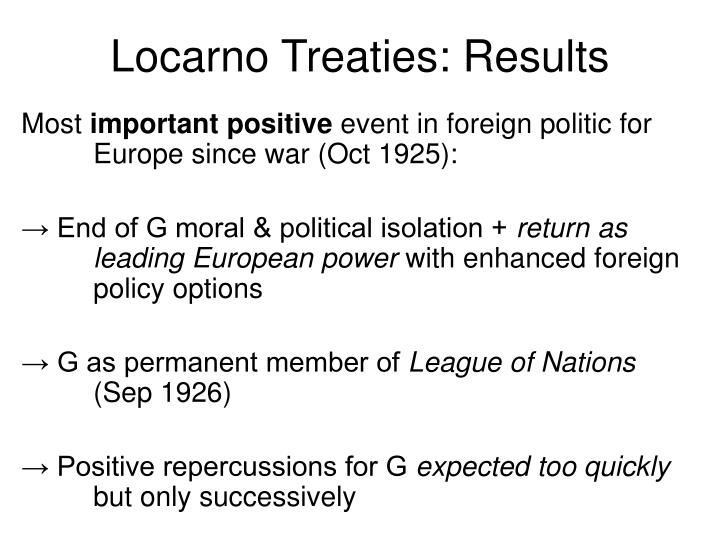 Locarno Treaties: Results