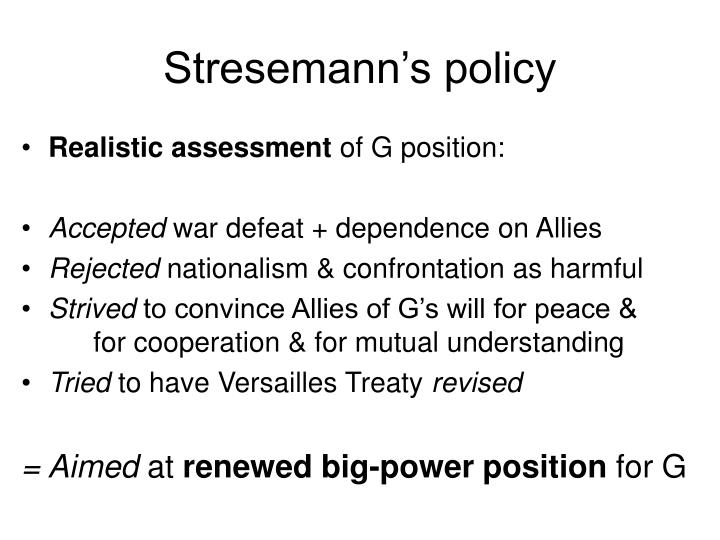 Stresemann's policy
